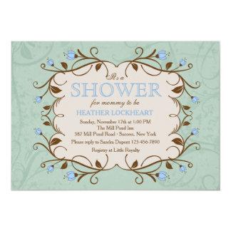 Marco floral en la invitación azul invitación 12,7 x 17,8 cm
