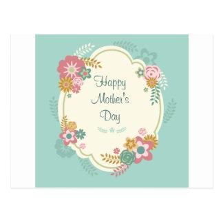 Marco floral feliz del día de madre postal