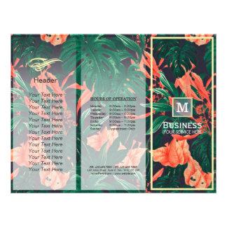 Marco floral triple del oro del salón de belleza flyer