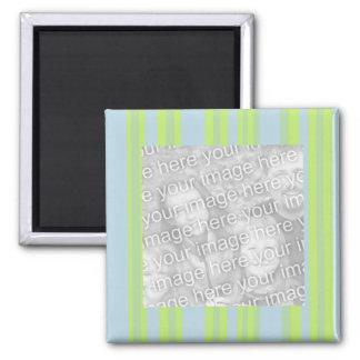 marco gris amarillo de la foto de las rayas azules imán cuadrado