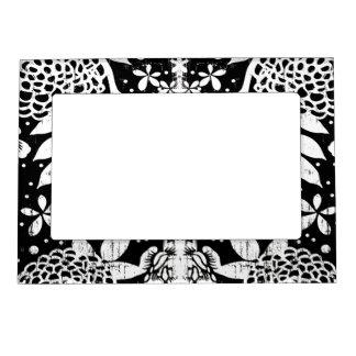 Marco magnético floral blanco y negro de las marcos magnéticos