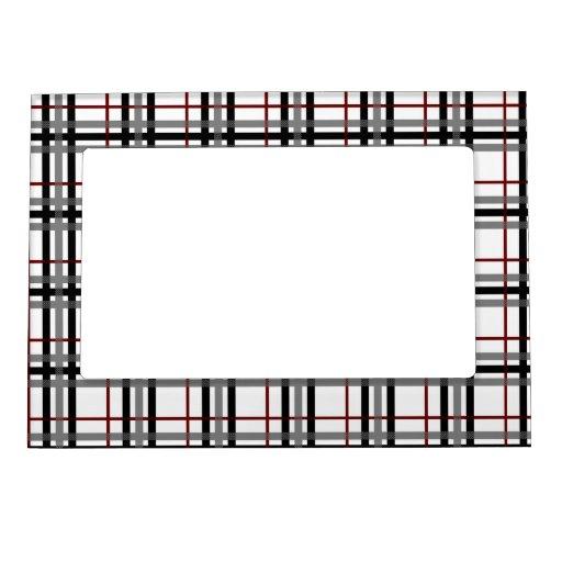 Marco magnético negro de la tela escocesa blanca y marcos magnéticos para fotos