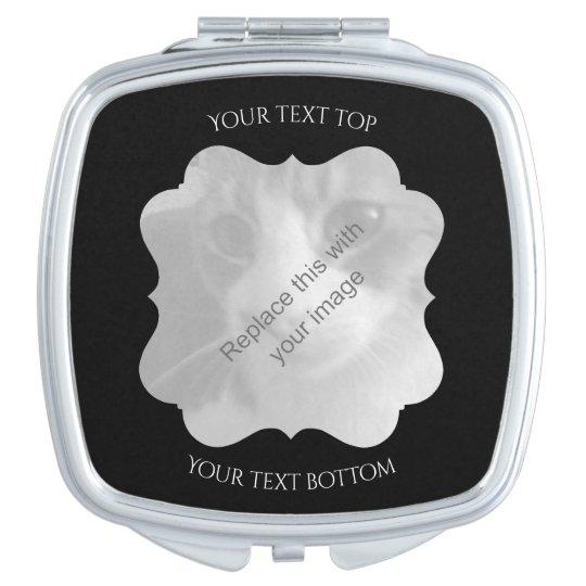 Marco negro elegante para su foto espejo compacto