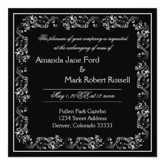 Marco negro y blanco del Flourish - invitación del
