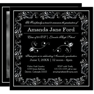 Marco negro y blanco del Flourish - la graduación Invitación 13,3 Cm X 13,3cm