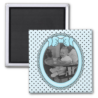 Marco oval azul - personalizable con su imagen imán cuadrado
