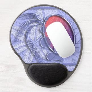 Marco oval de la foto del corazón gráfico azul del alfombrilla gel
