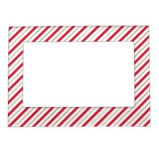 Marco Para Fotos Magnético El bastón de caramelo del navidad raya el oro rojo
