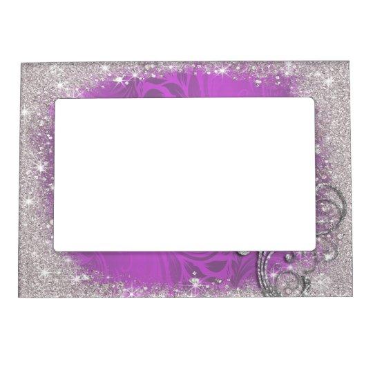 Marco Para Fotos Magnético Falsa chispa, purpurina en púrpura ...