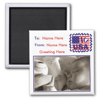 Marco patriótico del estilo de la postal imán cuadrado