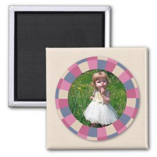 """marco precioso del círculo - """"color de rosa beige"""" imán cuadrado"""