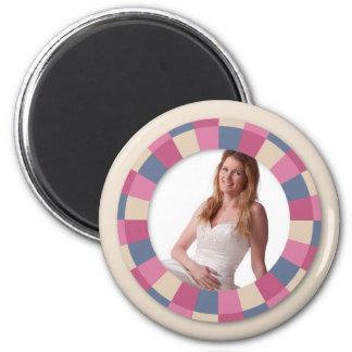 """marco precioso del círculo - """"color de rosa beige"""" imán redondo 5 cm"""