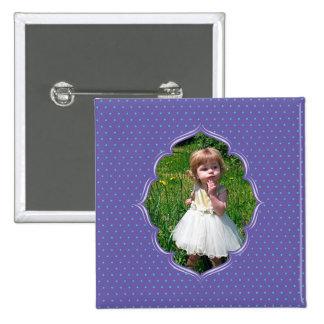 Marco púrpura de la foto del polkadot pins