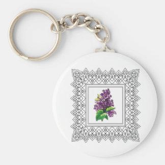 marco púrpura de la lila llavero redondo tipo chapa