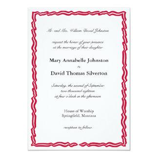 Marco rojo de la bandera de la raya invitación 12,7 x 17,8 cm