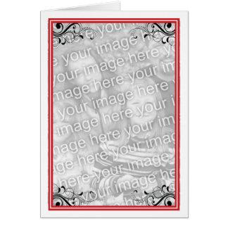 Marco rojo de la foto tarjeta de felicitación