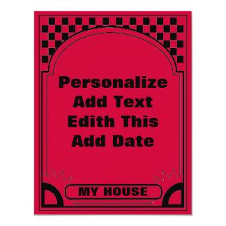 Marco rojo del art déco invitación personalizada