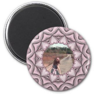 marco rosado de la foto con los corazones imán de frigorífico