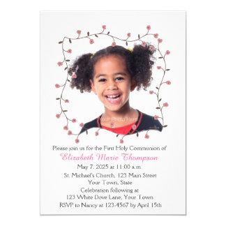 Marco rosado del flor, foto invitación 12,7 x 17,8 cm