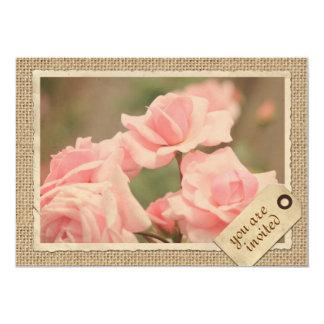 Marco rosado del papel del vintage de la etiqueta invitación 12,7 x 17,8 cm