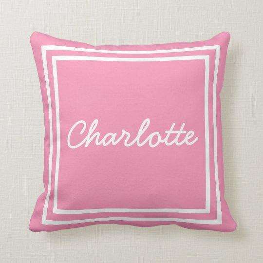 Marco rosado y blanco feliz personalizado cojín decorativo