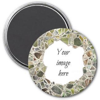 Marco verde del mosaico imán redondo 7 cm