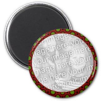 Marco verde rojo de la foto del día de fiesta imán redondo 5 cm
