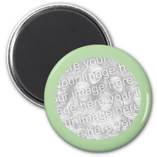 Marco verde simple de la foto imán redondo 5 cm