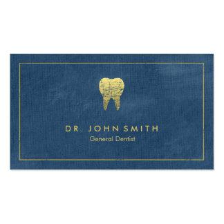 Marco y diente de oro - dentista de la lona azul tarjetas de visita