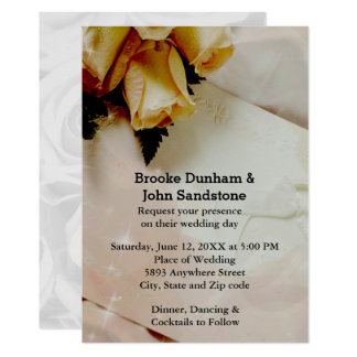 Marfil elegante con casarse de los rosas amarillos invitación 12,7 x 17,8 cm