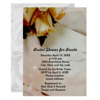 Marfil elegante - ducha nupcial amarilla de los invitación 12,7 x 17,8 cm