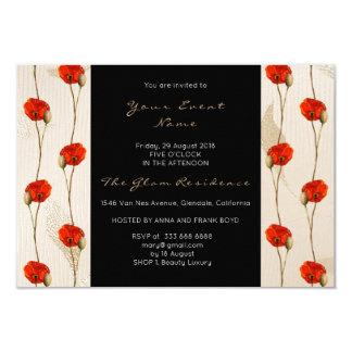 Marfil floral del vidrio del negro del confeti del invitación 8,9 x 12,7 cm