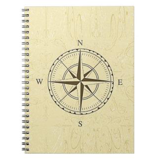 Marfil náutica del rosa de compás del vintage cuaderno