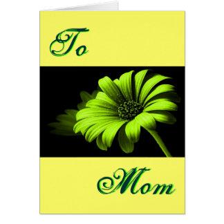 Margarita amarilla verde clara feliz del día de tarjeta de felicitación