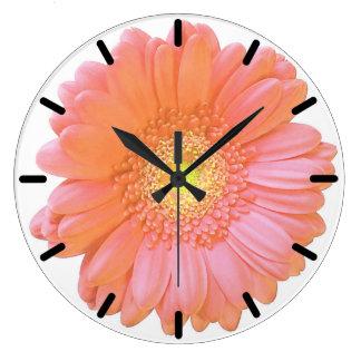 Margarita anaranjada del gerbera reloj redondo grande