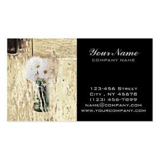margarita blanca de madera del tarro de albañil tarjetas de visita