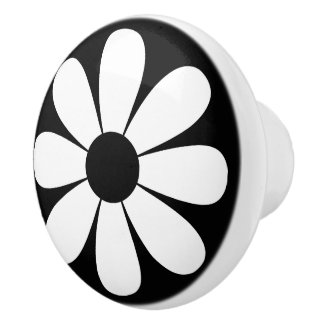 Margarita blanco y negro pomo de cerámica