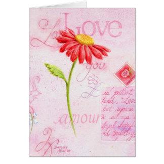 Margarita de las letras de amor de la tarjeta de