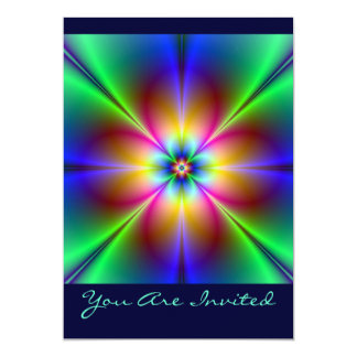 Margarita de neón colorida invitación 12,7 x 17,8 cm