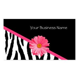 Margarita del rosa del modelo de la cebra tarjetas de visita