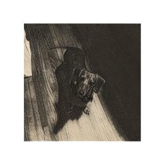 Margarita el Dachshund en la madera Impresión En Madera