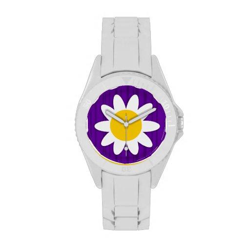 Margarita en rayas verticales violetas oscuras relojes