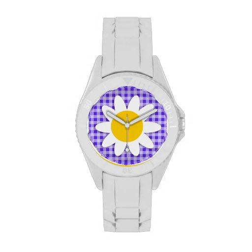 Margarita linda en la guinga violeta azul relojes de pulsera