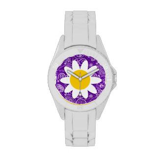 Margarita linda en Paisley violeta oscura Relojes De Mano