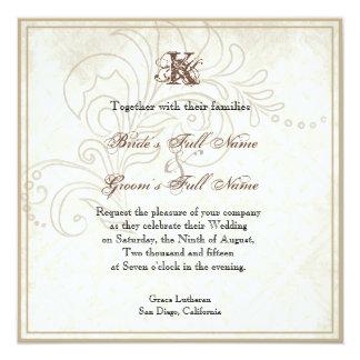 Margarita, pensamiento, mariposa color de rosa de invitación 13,3 cm x 13,3cm
