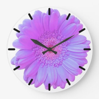 Margarita púrpura del gerbera reloj redondo grande