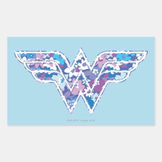 Margarita púrpura WW Pegatina Rectangular