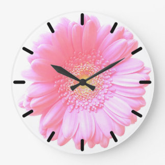Margarita rosa clara del gerbera reloj redondo grande