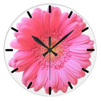 Margarita rosada del gerbera reloj redondo grande