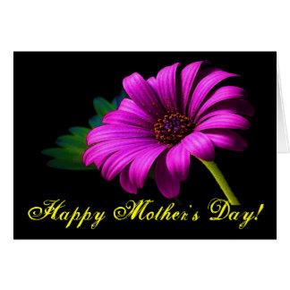 Margarita rosada púrpura feliz del día de madre tarjeta de felicitación